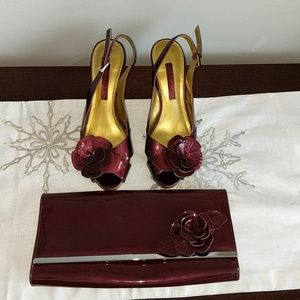 Bandolino burgundy shoes and matching clutch